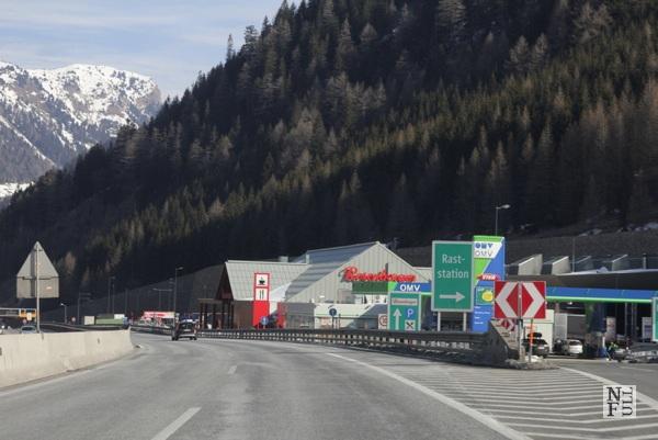Autobahn in Austria near the border with Italy