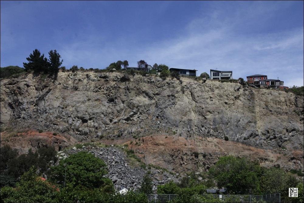 Sumner village cliffs after the earthquake