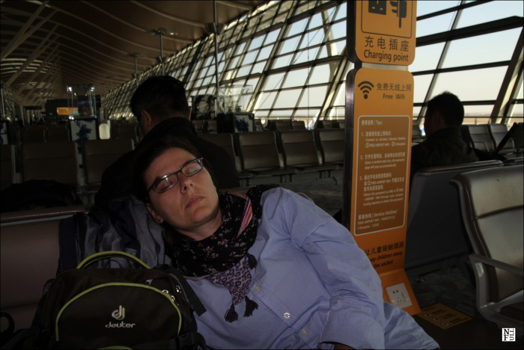 Jet-lagged at the Shanghai International Airport.