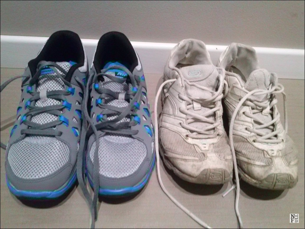 Old and new running shoes