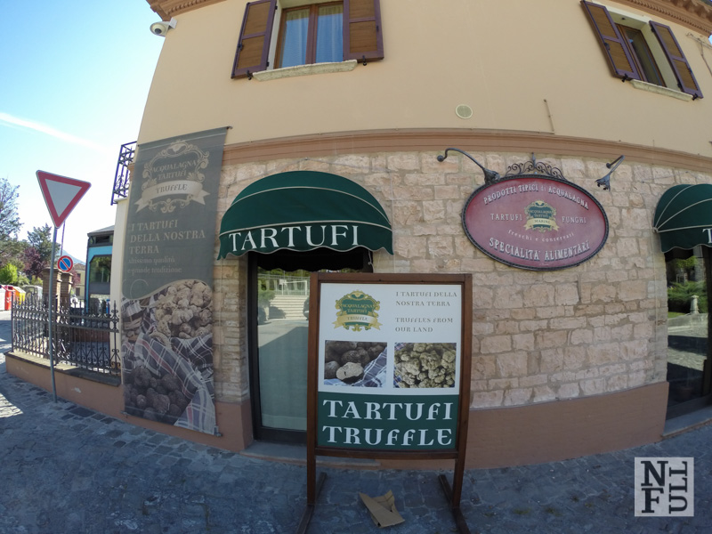 Shop with truffles in Acqualagna, Marche, Italy