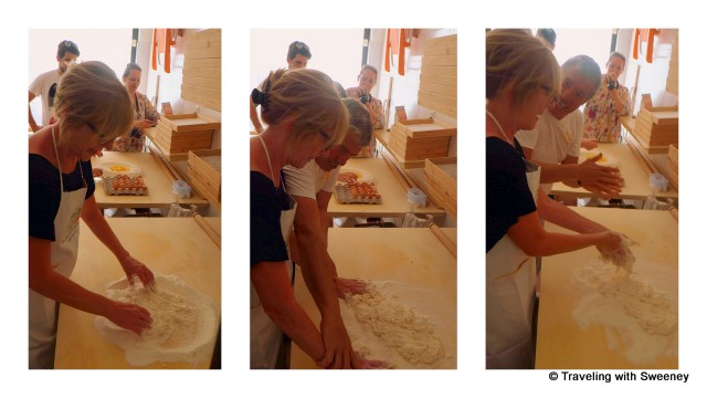 Getting pasta-making instructions from Michele at Pasta Fresca Laura in Santarcangleo