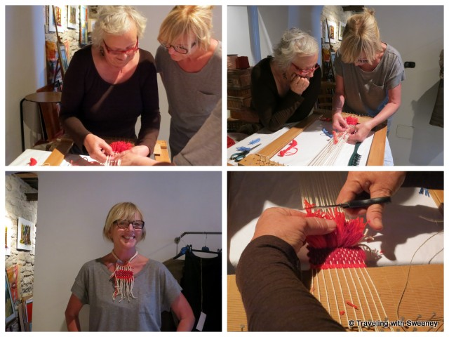 Learning to weave from Guiliana and my finished necklace, Portico di Romagna