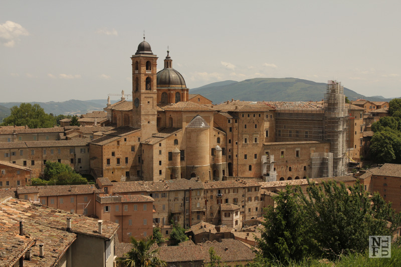 View from Fortezza towards downtown of Urbino, Marche, Italy