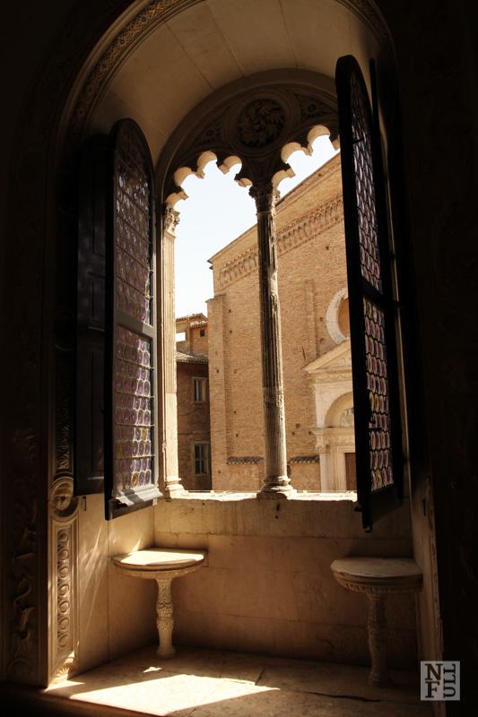 Window view, Palazzo Ducale, Urbino, Marche, Italy