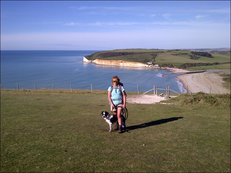 Above Cuckmere Haven with Holly