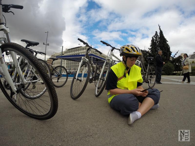 Bikes and Susan, Athens, Greece