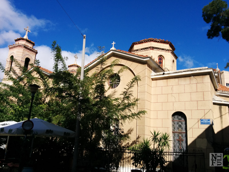 Beautiful orthodox churches along our bike trail, Athens, Greece