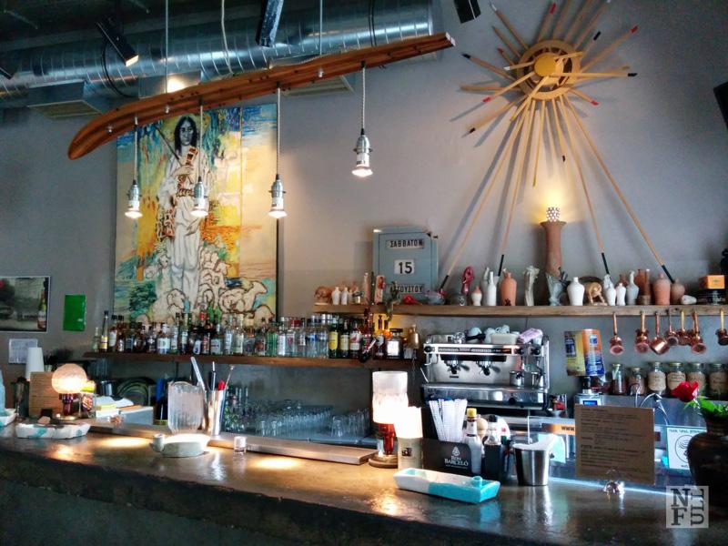 Beautiful interior design of Kaimaro Cafe, Athens, Greece