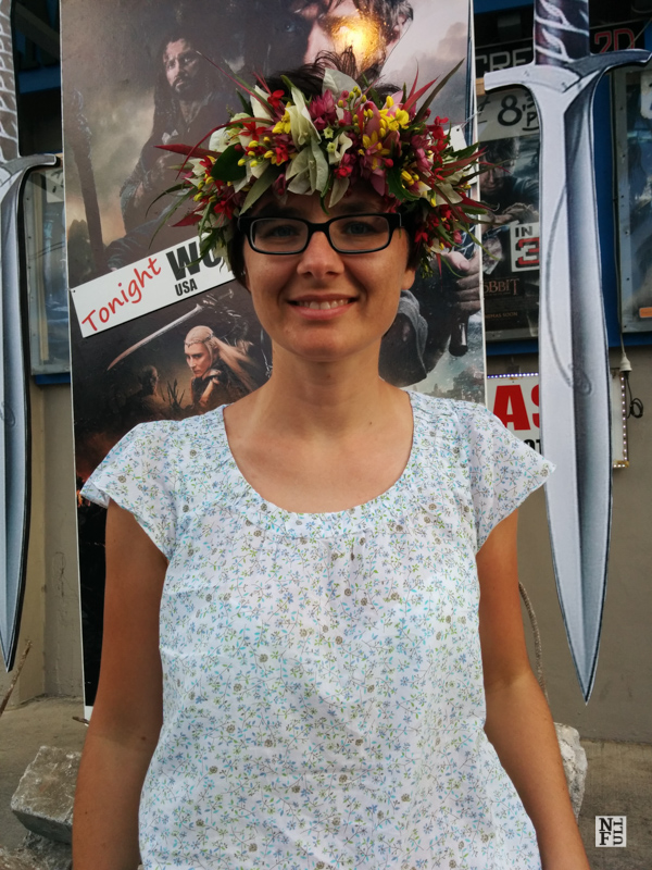Before the Hobbit movie - me with flower garland, Rarotonga, Cook Islands