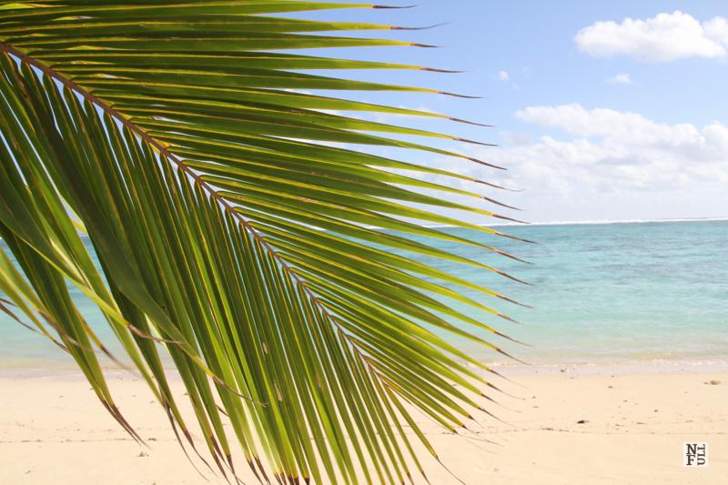 Sunny beach on Rarotonga, Cook Islands