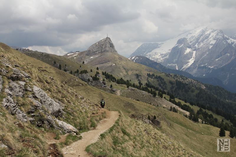 Looking towards Marmolada Glacier, Dolomites, Italy.