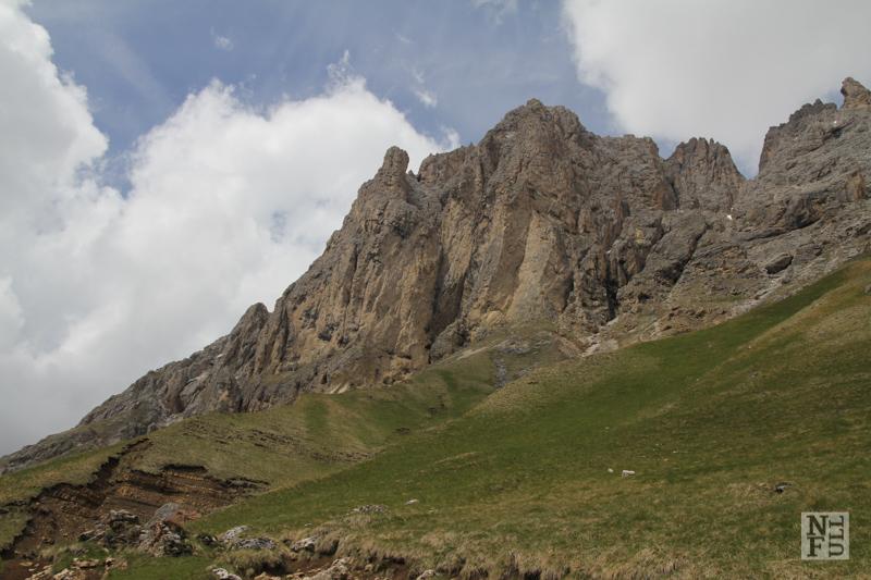 Looking towards Sasso Piatto, Dolomites, Italy.