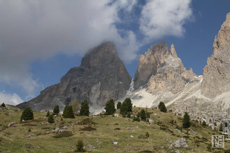 Sasso Piatto seen from Passo Sella, the Dolomites, Italy.