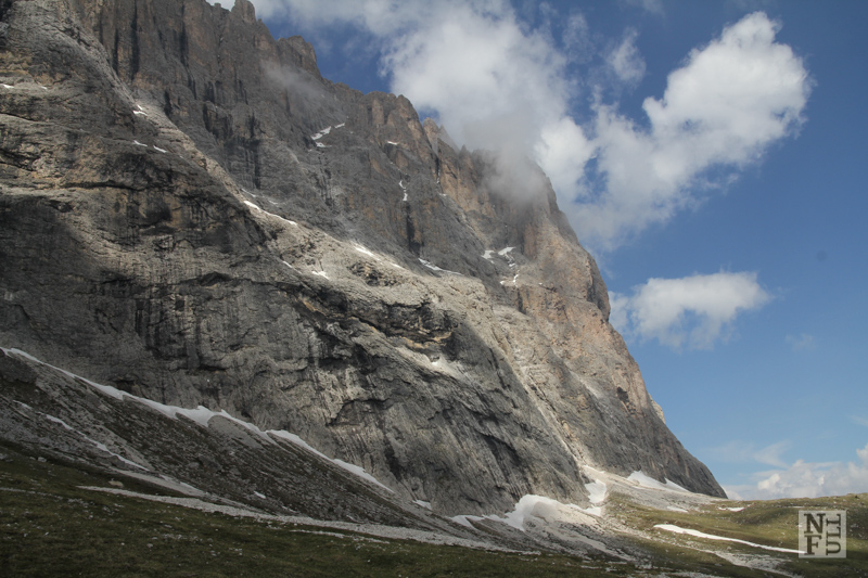 Sassolungo. Scree along the way. Dolomites, Italy.