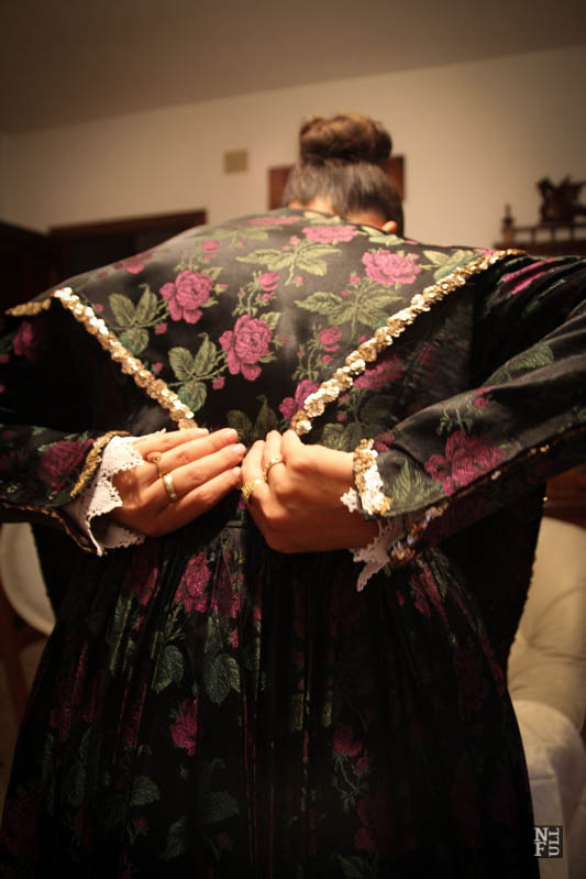 Dressing traditional costume of Sardinia by Maria Paola, Fluminimaggiore.