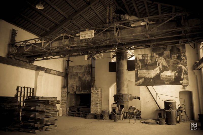 Montevecchio: a workshop. B&W banners above our heads with the old photographs.