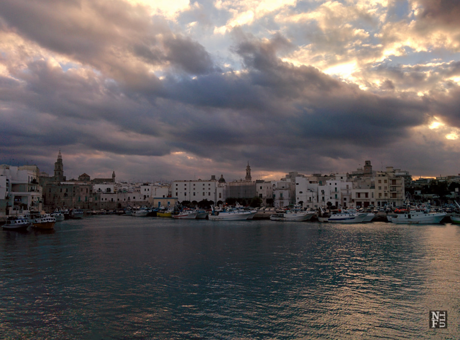 Monopoli under rain clouds, Puglia, Italy