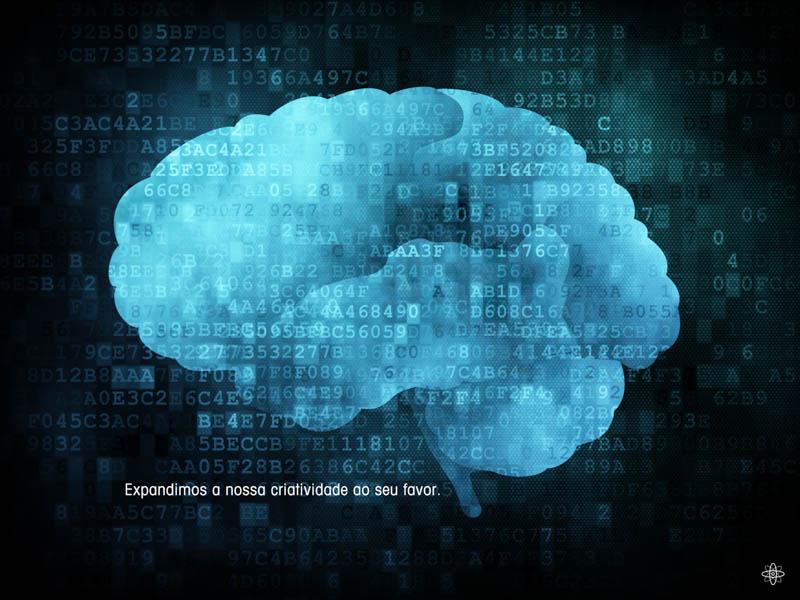 Brain on digital screen