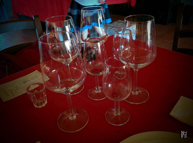 The glasses used in wine tasting, Valpolicella, Italy
