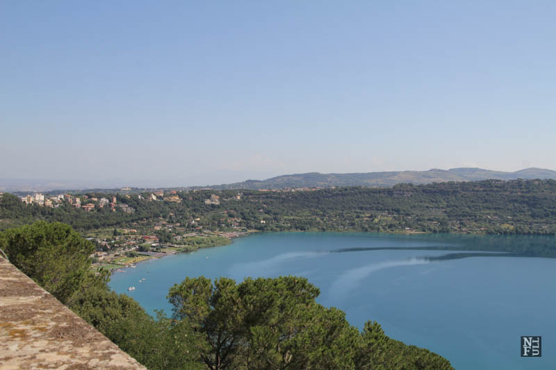 The view over Albano Lake from the Papal Residence, Castel Gandolfo, Italy