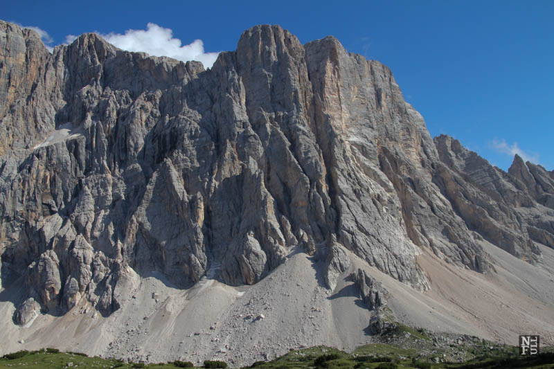 Monte Civetta seen from Rifugio Tissi, the Dolomites, Italy.