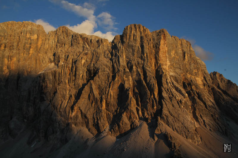 The sun is setting down, Mount Civetta, the Dolomites, Italy.