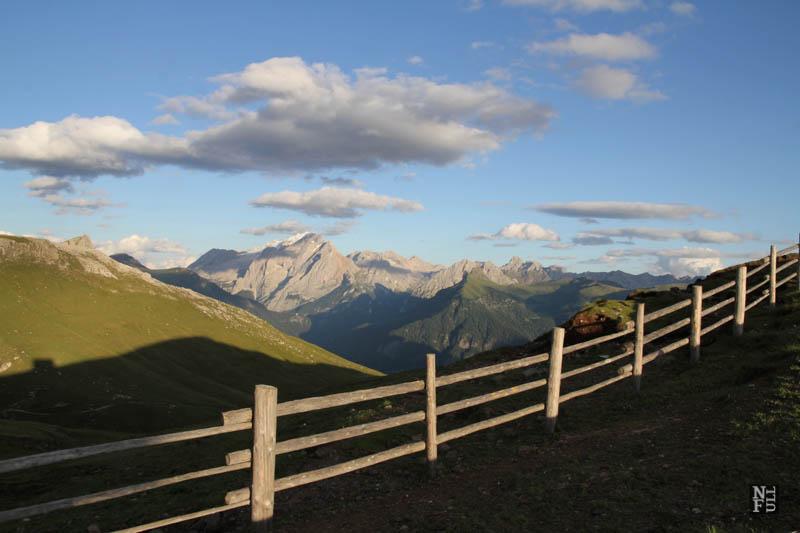 Evening view towards Marmolada Glacier, the Dolomites, Italy