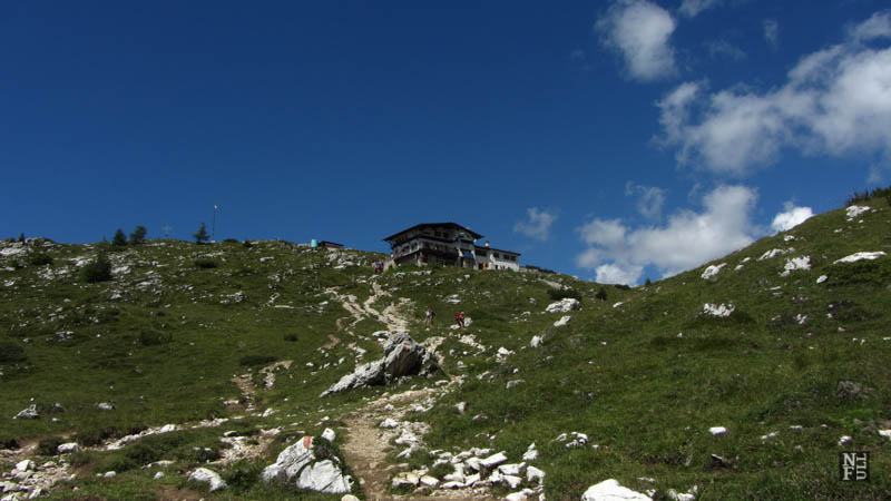 The final part of the walk, Rifugio Tissi, the Dolomites, Italy