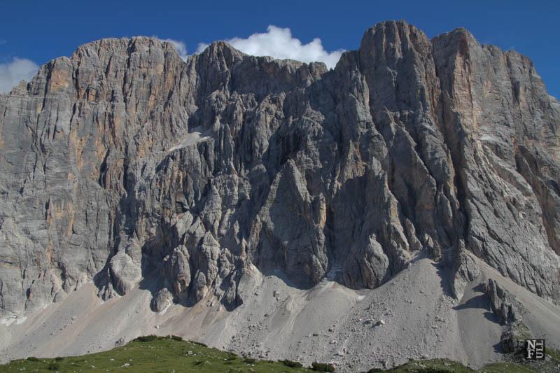 Trekking to Rifugio Tissi, the Dolomites, Italy.