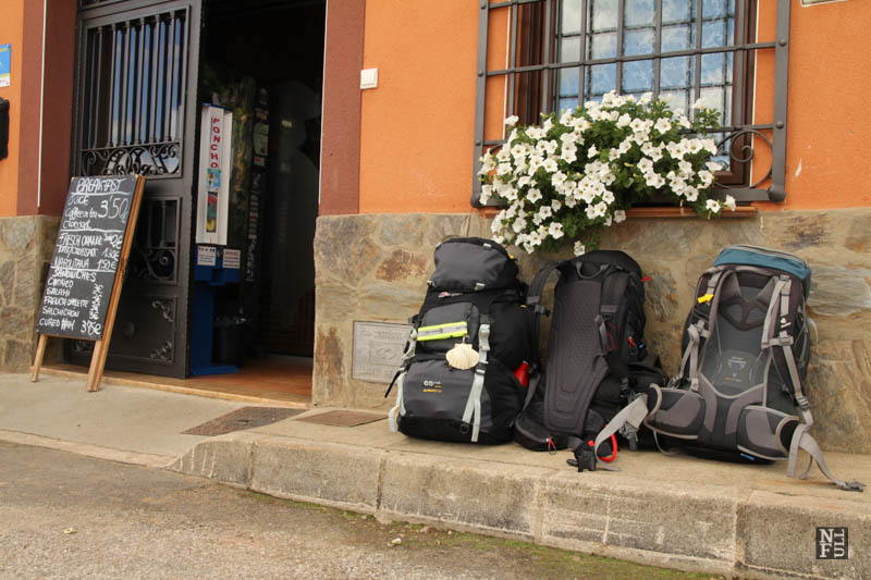 My backpack in the middle. On my way to Santiago de Compostela, Spain.